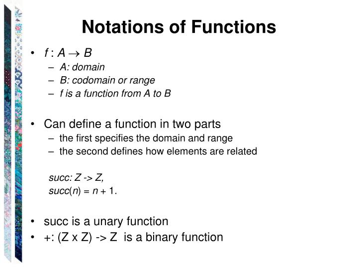 Notations of Functions