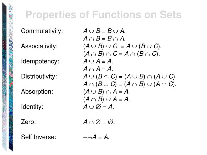 Properties of Functions on Sets