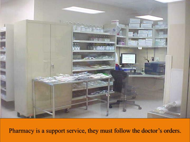 Pharmacy is a support service, they must follow the doctor's orders.