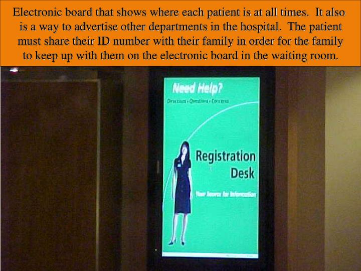 Electronic board that shows where each patient is at all times.  It also