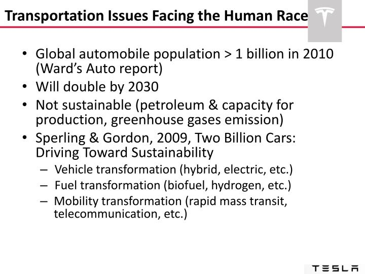 Transportation Issues Facing the Human Race
