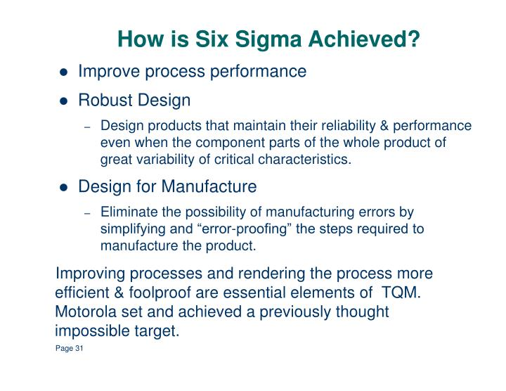 How is Six Sigma Achieved?