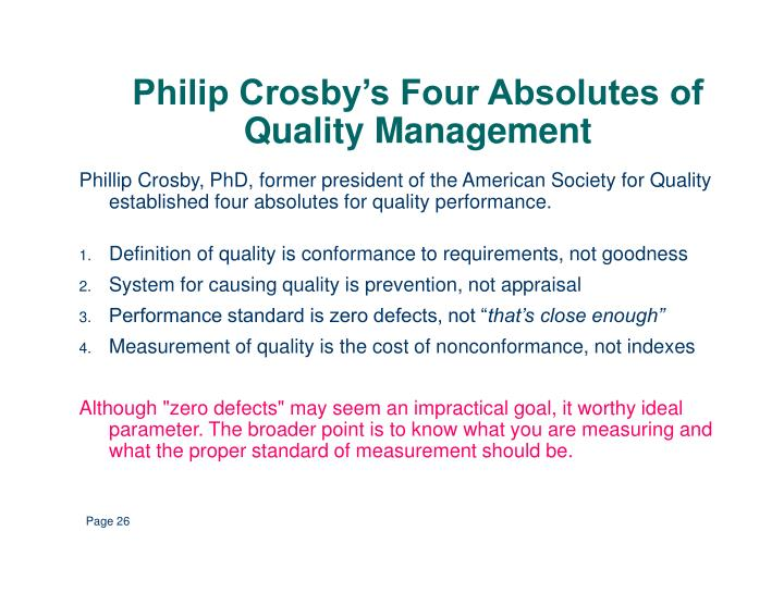 Philip Crosby's Four Absolutes of Quality Management