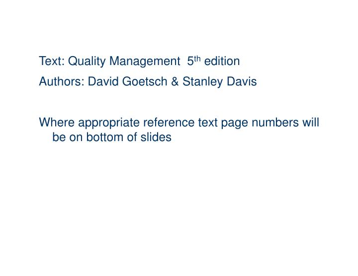 Text: Quality Management  5