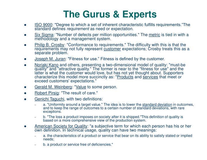 The Gurus & Experts