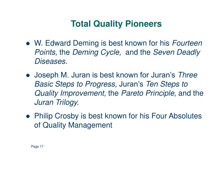 Total Quality Pioneers