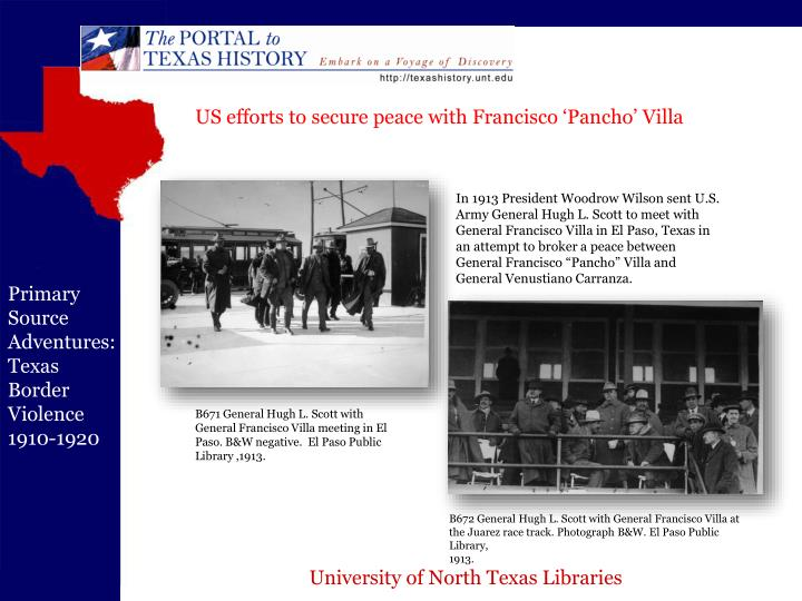 US efforts to secure peace with Francisco 'Pancho' Villa