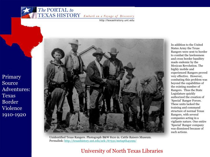 In addition to the United States Army the Texas Rangers were sent to border to combat the lawlessness and cross border banditry made endemic by the Mexican Revolution. The highly mobile and experienced Rangers proved very effective.  However, combating this problem was beyond the capabilities of the existing number of Rangers.  Thus the State Legislature quickly authorized the creation of 'Special' Ranger Forces. These units lacked the training and command structure of normal Texas Rangers, with several companies acting in a vigilante nature. One entire