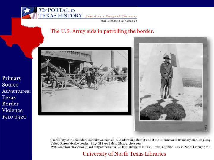 The U.S. Army aids in patrolling the border.
