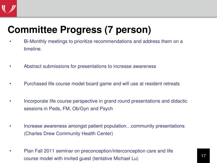 Committee Progress (7 person)