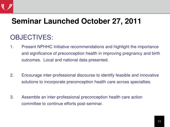 Seminar Launched October 27, 2011