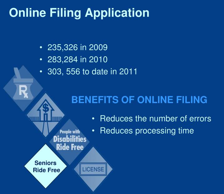 Online filing application