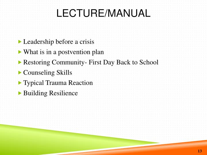 Lecture/Manual