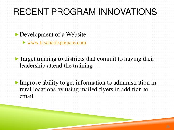 Recent Program Innovations