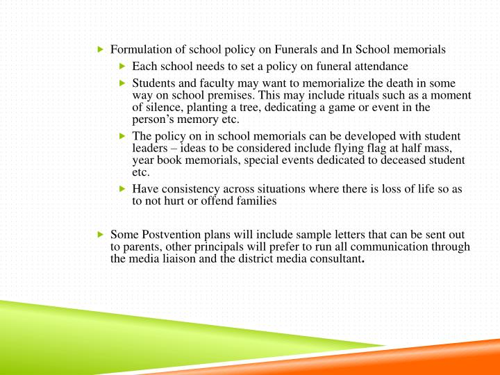 Formulation of school policy on Funerals and In School memorials