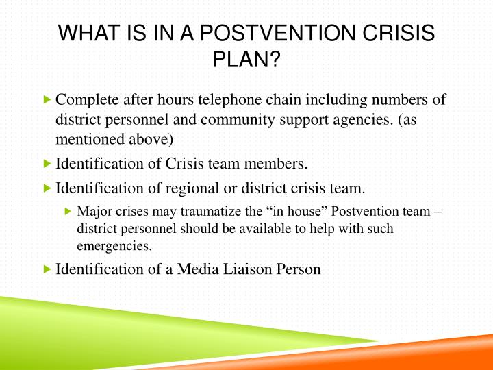 What is in a Postvention Crisis Plan?