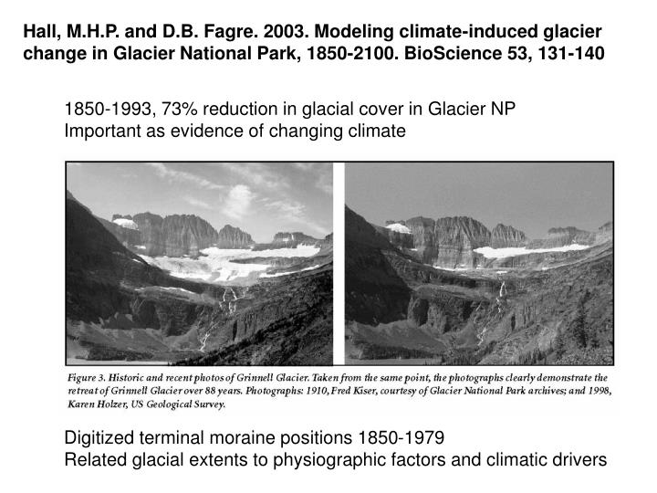 Hall, M.H.P. and D.B. Fagre. 2003. Modeling climate-induced glacier change in Glacier National Park, 1850-2100. BioScience 53, 131-140