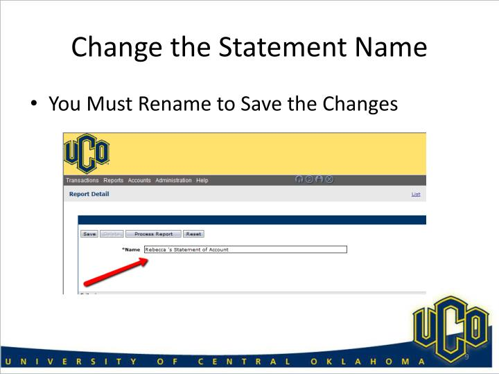 Change the Statement Name