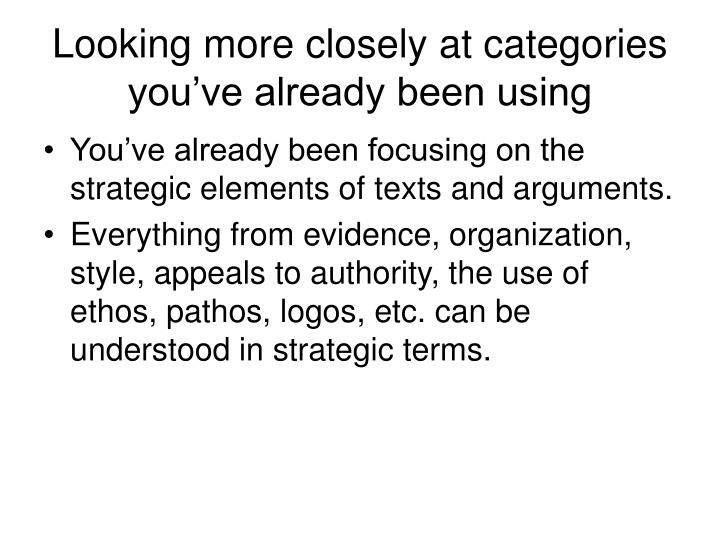 Looking more closely at categories you've already been using