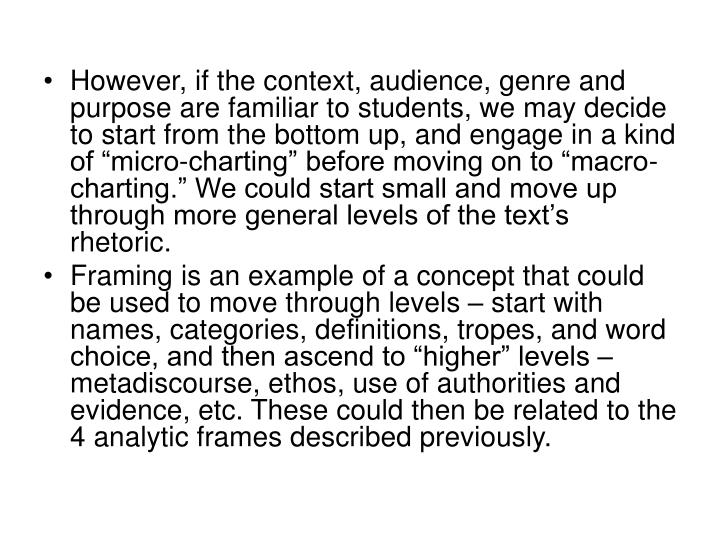"""However, if the context, audience, genre and purpose are familiar to students, we may decide to start from the bottom up, and engage in a kind of """"micro-charting"""" before moving on to """"macro-charting."""" We could start small and move up through more general levels of the text's rhetoric."""