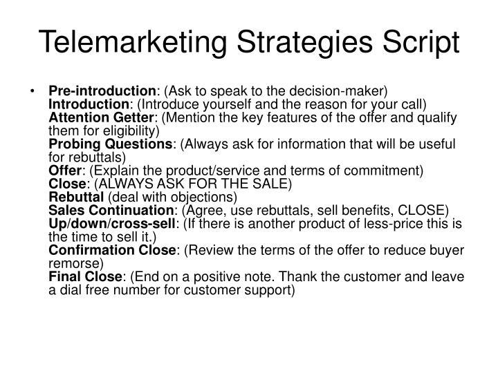 Telemarketing Strategies Script
