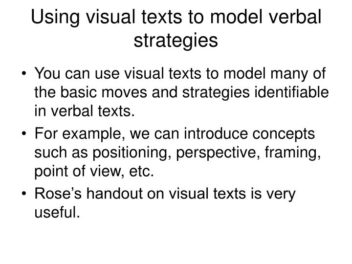 Using visual texts to model verbal strategies