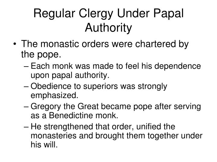Regular Clergy Under Papal Authority