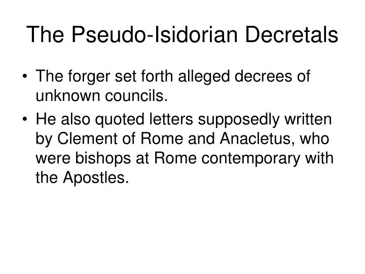 The Pseudo-Isidorian Decretals