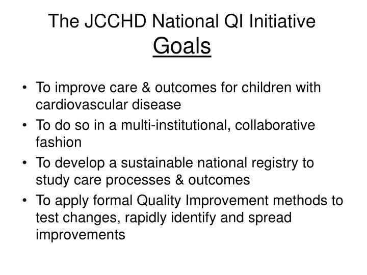 The JCCHD National QI Initiative