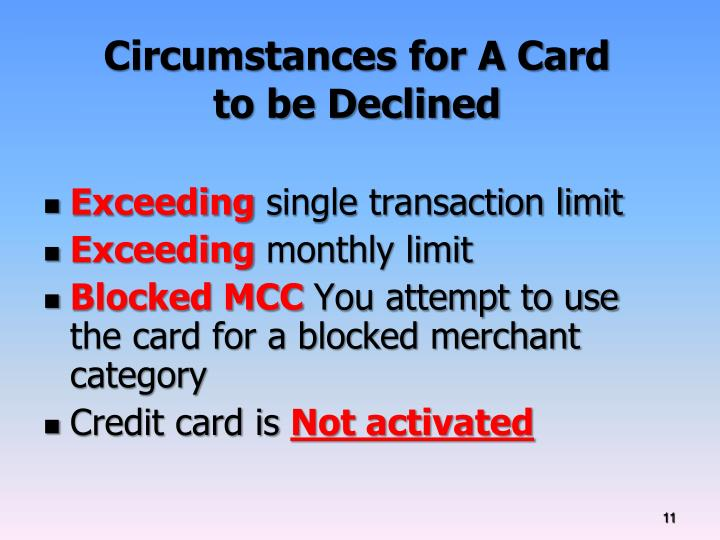Circumstances for A Card