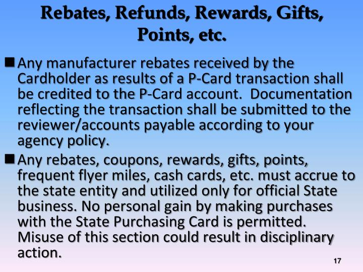 Rebates, Refunds, Rewards, Gifts,