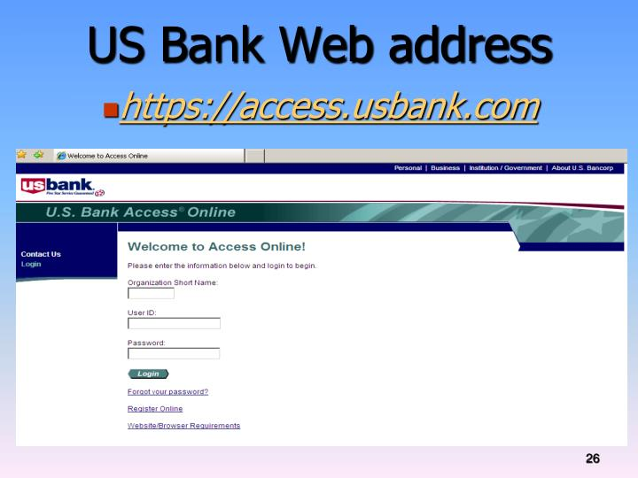US Bank Web address