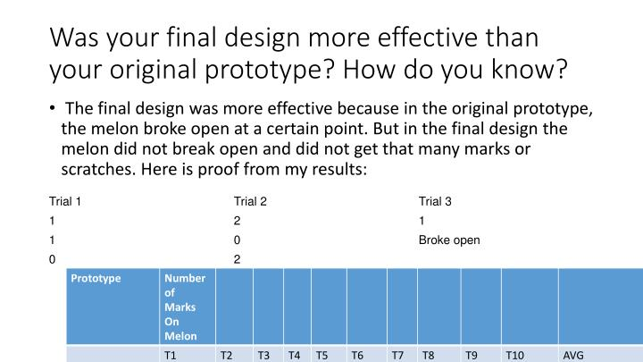 Was your final design more effective than your original prototype? How do you know?