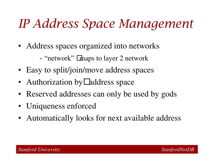 IP Address Space Management