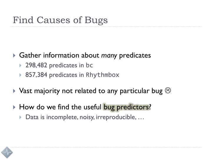 Find Causes of Bugs