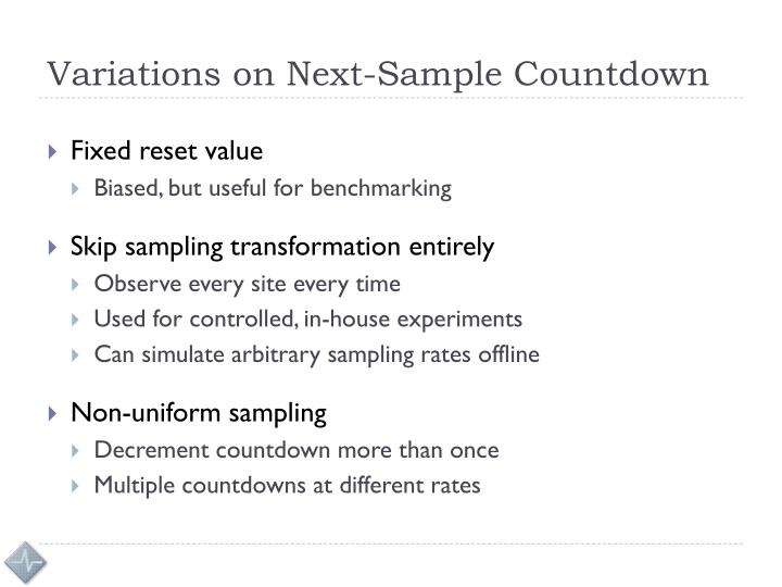 Variations on Next-Sample Countdown
