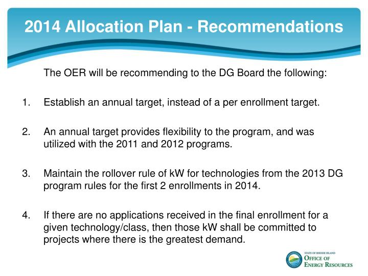 2014 Allocation Plan - Recommendations