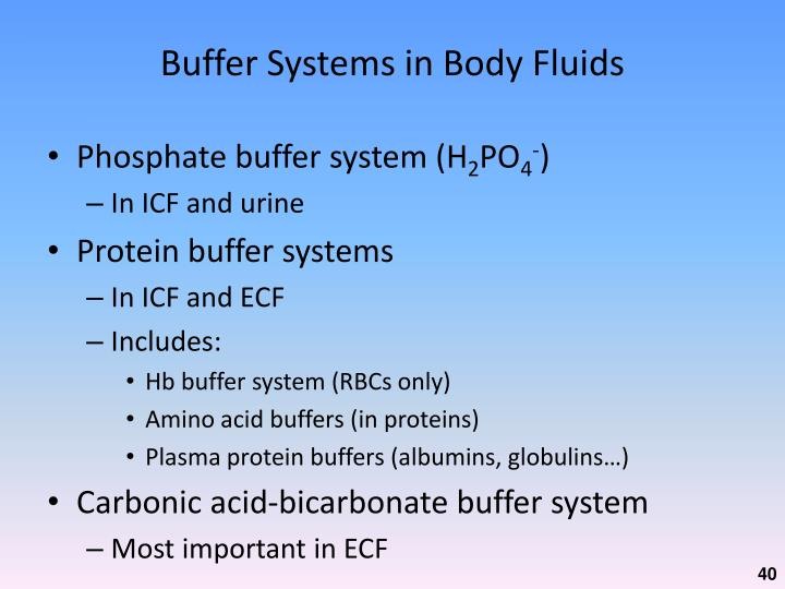 Buffer Systems in Body Fluids