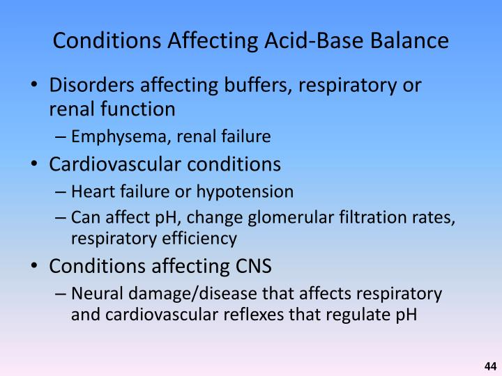 Conditions Affecting Acid-Base Balance