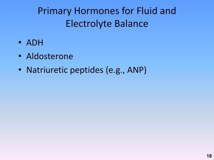 Primary Hormones for Fluid and Electrolyte Balance