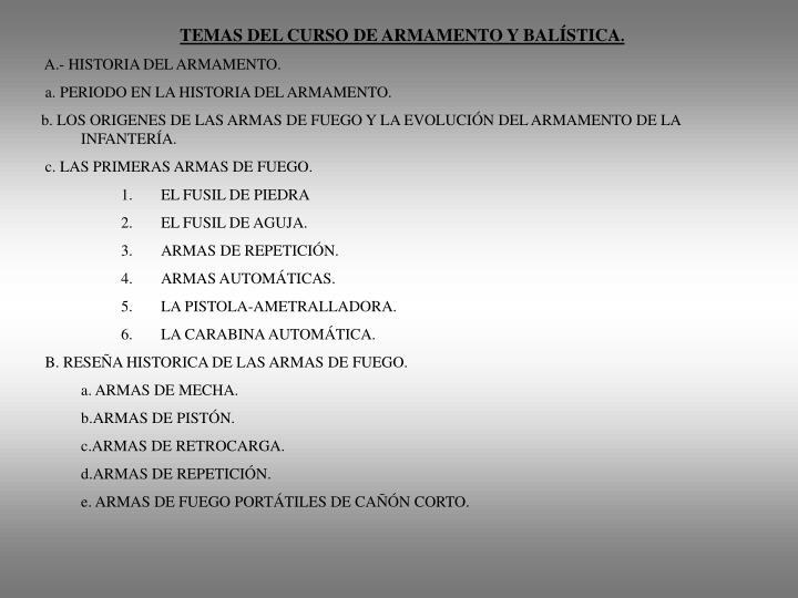 TEMAS DEL CURSO DE ARMAMENTO Y BALÍSTICA