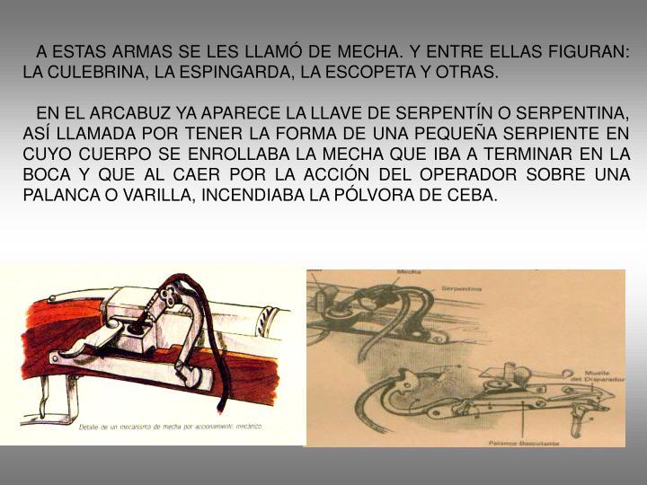 A ESTAS ARMAS SE LES LLAMÓ DE MECHA. Y ENTRE ELLAS FIGURAN:  LA CULEBRINA, LA ESPINGARDA, LA ESCOPETA Y OTRAS.