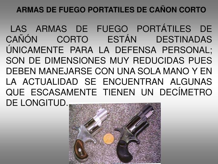 ARMAS DE FUEGO PORTATILES DE CAÑON CORTO