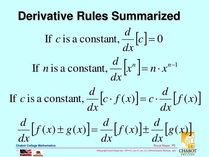 Derivative Rules Summarized