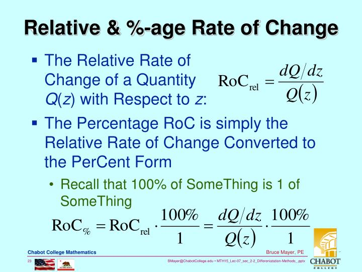 Relative & %-age Rate of Change