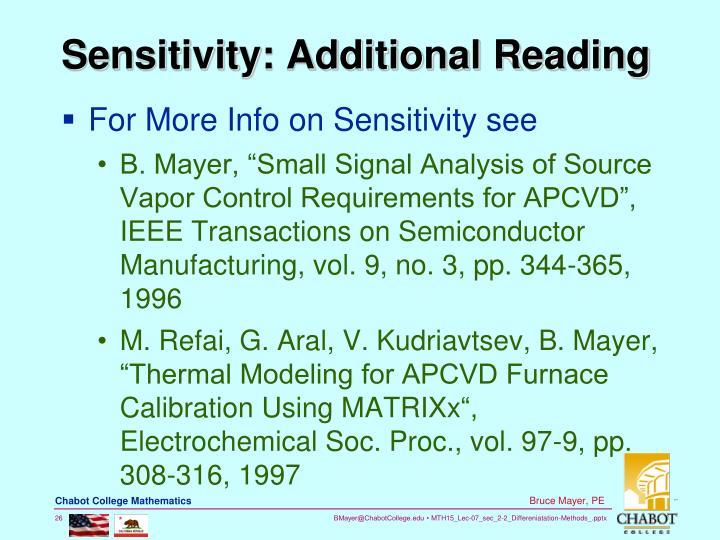 Sensitivity: Additional Reading