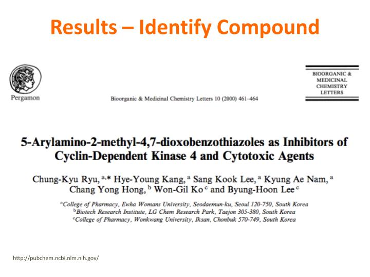 Results – Identify Compound
