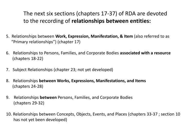 The next six sections (chapters 17-37) of RDA are devoted to the recording of