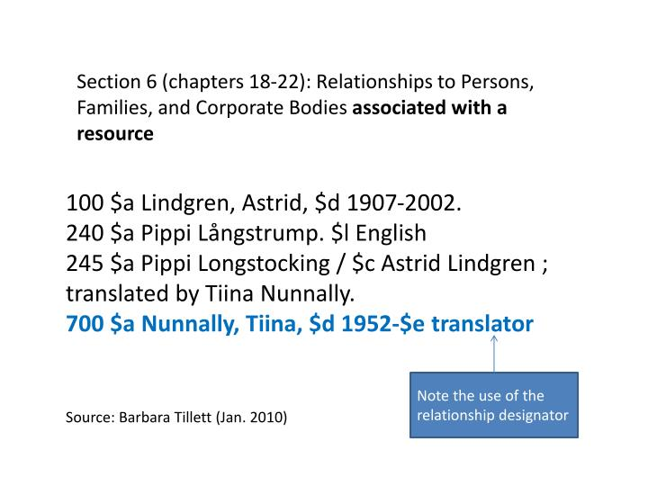 Section 6 (chapters 18-22): Relationships