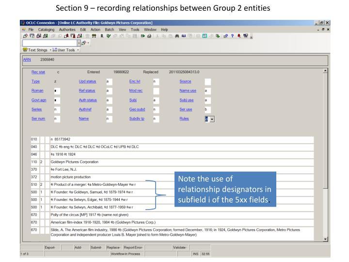 Section 9 – recording relationships between Group 2 entities